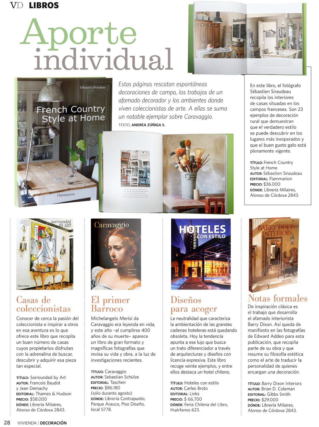 Libros destacados revista Vivienda y Decoraci�n, El mercurio 21-08-2010 - MilAires, Boutique del Libro.