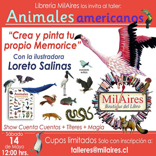 Taller Animales americanos - crea tu propio memorice - MilAires, Boutique del Libro.