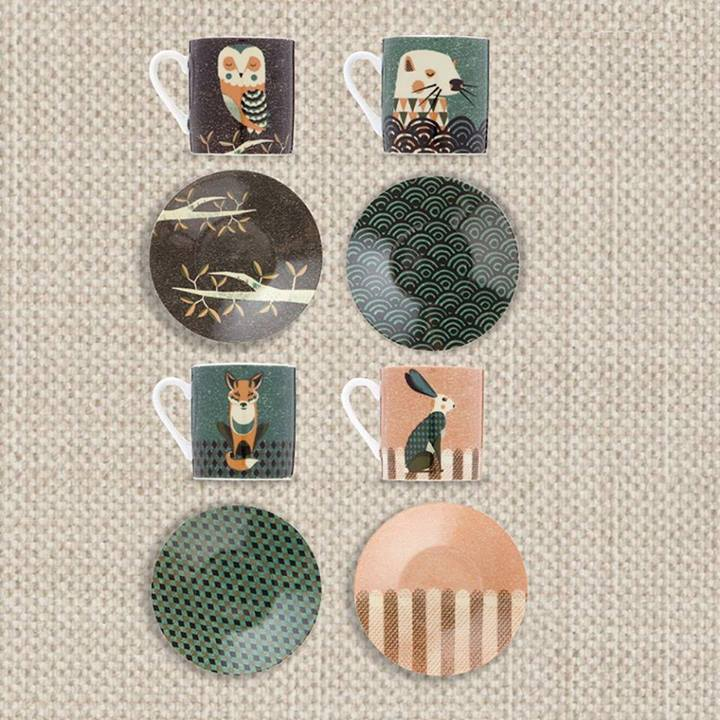 Set de tazas dise�o; Animales bosque -